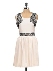 Cream Pleated Dress With Black Scalloping - Meee!