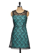 Sea Green And Black Lace Dress - Meee!