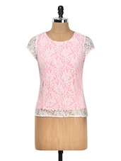 Pink And White Lace Top - Meee!