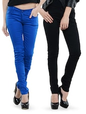Combo Of Black And Blue Skinny Pants - Dashy Club