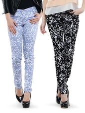 Combo Of Black And Light Blue Floral Pants - By