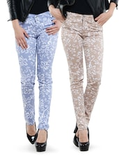 Combo Of Beige And Light Blue Printed Pants - Dashy Club