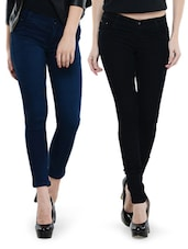 Combo Of Black And Dark Blue Jeans - Dashy Club