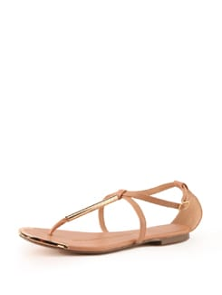 Beige Faux Leather Sandals With Metal Trims - Tresmode