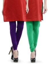 Combo Pack Of Purple And Leaf Green Leggings - Nicci Nimo