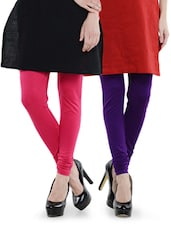 Combo Pack Of Purple And Pink Leggings - Nicci Nimo
