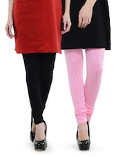 Combo Pack Of Black And Baby Pink Leggings - Dashy Club