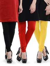 Combo Of Pack Of Three Leggings (Red, Yellow, Black) - Nicci Nimo