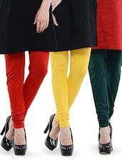 Combo Of Pack Of Three Leggings (Red, Yellow, Deep Green) - Dashy Club