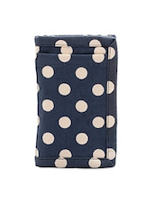 Navy Blue Cotton Wallet With Polka Dot Print - Voylla