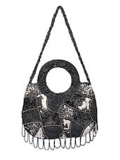 Embellished Grey Hand Bag - Voylla
