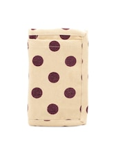 Cream And Purple Polka Dotted Wallet - Voylla