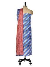 Blue Unstitched Suit Set With Multi-coloured Prints - DFOLKS