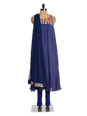 Blue Pleated Anarkali Suit Set - Magnetic Designs