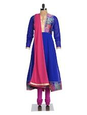 Blue And Pink Anarkali Suit Set - Magnetic Designs