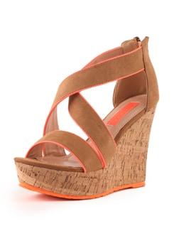 Beige And Neon Orange Wedge Sandals - Tresmode