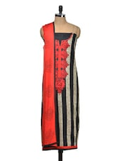 Paisley Style Black And Red Salwar Suit Material - Tanisi