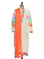 Elegant White Kurta With Colourful Border - Tanisi