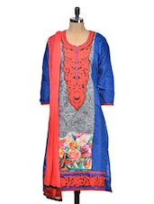 Gorgeous Blue Kurta With Stunning Red Embroidery - Tanisi
