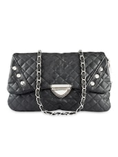 Black Embellished Check Sling Bag - Lalana