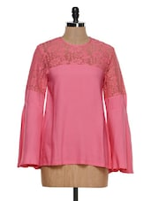 Pink Bell-Sleeved Lace Top - STREET 9