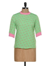 Green And Pink Bow Top - STREET 9
