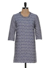 Blue Printed Tunic Dress - STREET 9