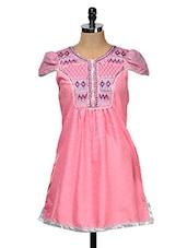 Pink Short Sleeved Kurti - Yepme