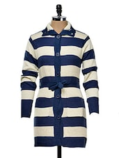 Blue And White Striped Cardigan - Yepme