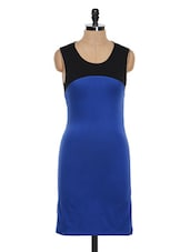 Colour Block Chic Polyester Dress - Besiva