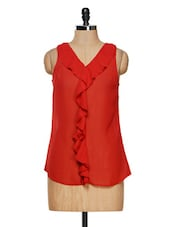 Sleeveless Red Polyester Ruffle Top - Besiva