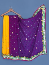 Yellow- Purple Half & Half Embroidered Chiffon Saree - Styloce