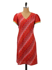 Red Printed Cotton Kurti - MOTHER HOME
