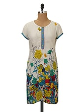 Floral Printed White Cotton Kurta - MOTHER HOME