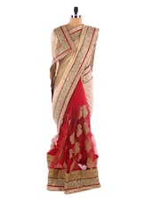 Red And Cream Party Wear Saree - Vastrang