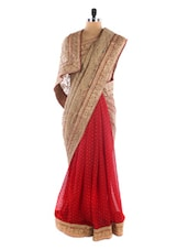 Red And Beige Party Wear Saree - Vastrang