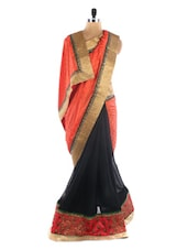 Coral And Black Saree With Gold Border - Vastrang