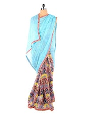 Sky Blue Georgette Printed Saree - Vastrang
