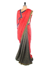 Red Art Silk Printed Saree - Vastrang