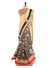 Cream And Black Saree With Embroidery And Patch Work - Vastrang