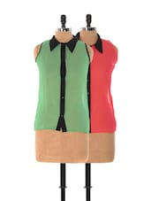 Set Of Pink Sleeveless Top And Green Sleeveless Top - Xniva