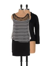 Set Of Monochrome Striped Dress And Black Shrug - Xniva