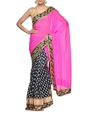 Pink And Black Printed Saree - Aakriti