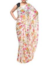 White Floral-Print Georgette Saree - Aakriti
