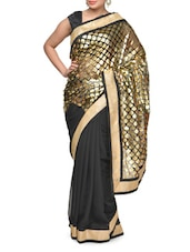 Black And Gold Printed Saree - Aakriti