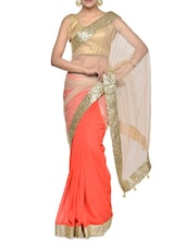 Gorgeous Red Shaded Saree With Glamorous Golden Border - Aakriti