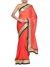 Gorgeous Red Georgette Saree With Sequins Border - Aakriti