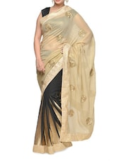 Stunning Black Beige Saree With Gorgeous Embroidery Work - Aakriti