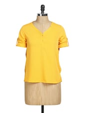 Solid Yellow V-neck Top - La Zoire