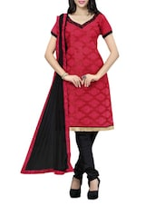 Red Unstitched Printed Suit Set - Fabdeal